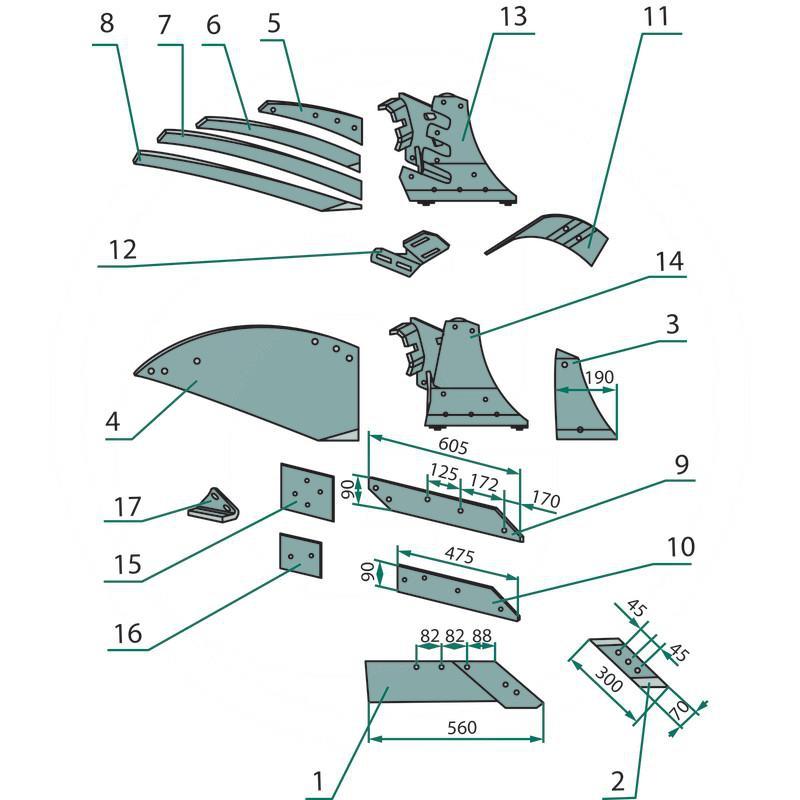 AGTECH Lemiesz prawy z nakładką ze stali borowej HRC-50 PO 0387