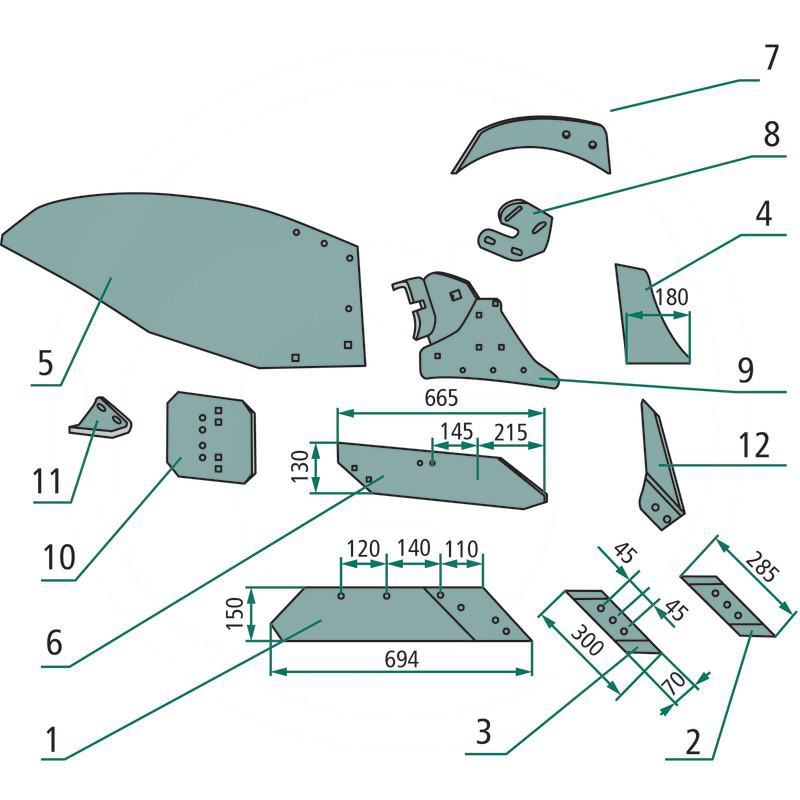 AGTECH Lemiesz z nakładką prawy ze stali borowej HRC-50 PO/01187