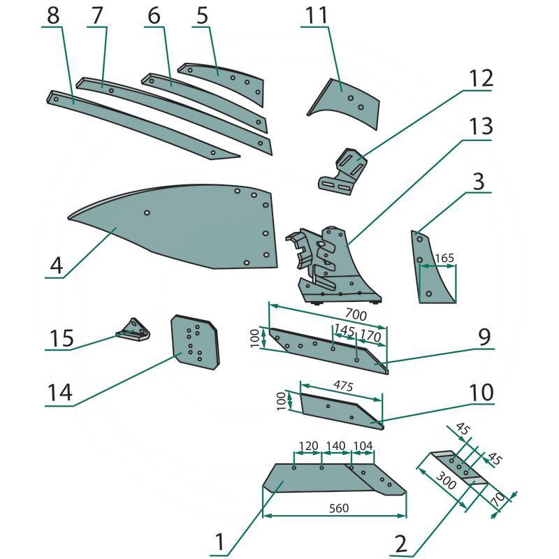 AGTECH Listwa odkładnicy B prawa ze stali borowej HRC-50 VIS 7