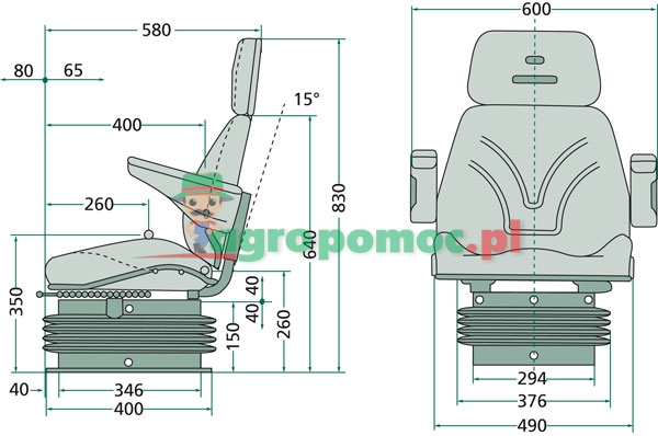 Siedzenie komfortowe pneumatyczne 24000005 GRANIT   zdjęcie nr 2
