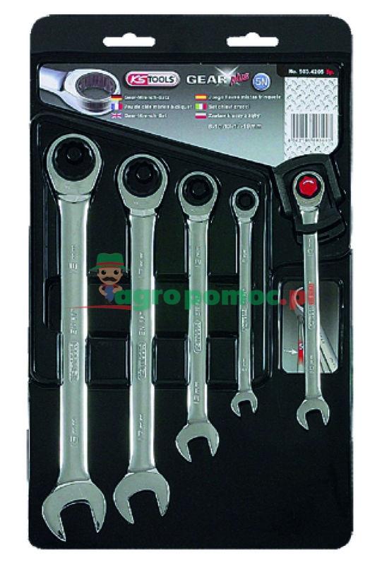 KS Tools GEAR+ Klucz szczękowo-oczkowy - zestaw, 5-el., 8-19mm | zdjęcie nr 1