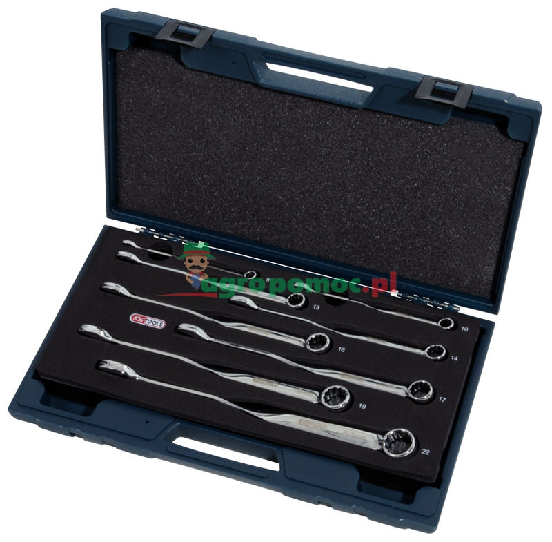 KS Tools CHROMEplus® Twist-Ringmaulschlüssel-Satz, abgewinkelt, 8-tlg., 8-22mm