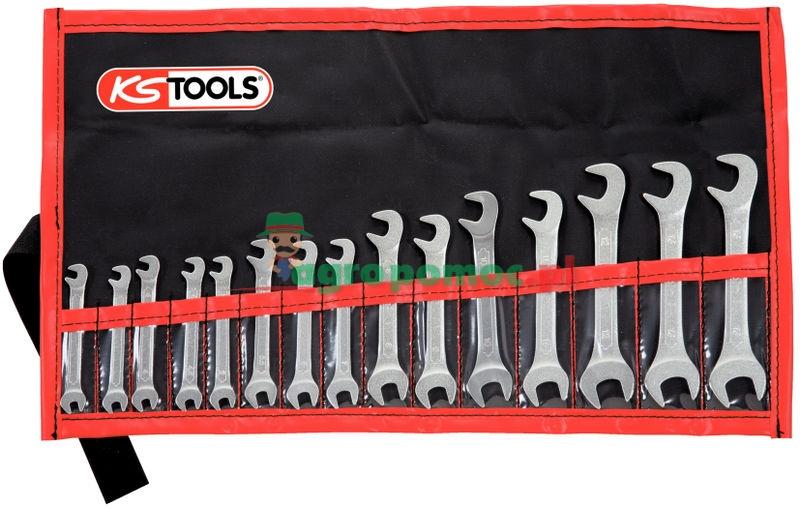 KS Tools CLASSIC Doppel-Maulschlüssel-Satz, 15° und 75° abgewinkelt, 15-tlg., 3,2-14mm