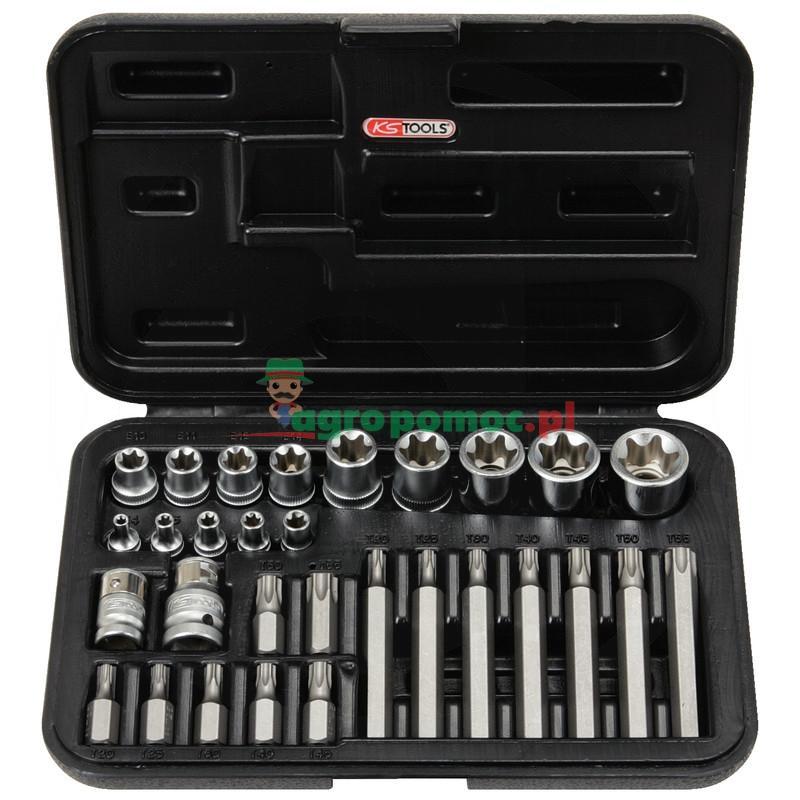 """KS Tools Zestaw kluczy nasadowych TX i bitów,30-szt., 1/4""""+3/8""""+1/2"""""""